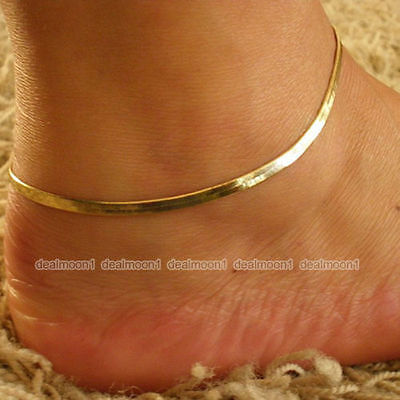 Ladies Gold  Ankle Bracelet Chain Adjustable Anklet Foot Charm 25 cm