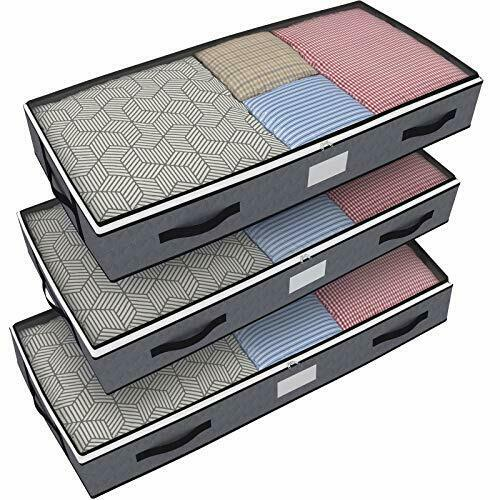 Under Bed Storage Bins with Lids, 3pcs Large Underbed Clothes Blankets