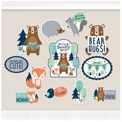 BABY SHOWER Bear-ly Wait CUTOUT DECORATIONS (12) ~ Party Supplies Boy Blue Paper](Baby Boy Party Supplies)