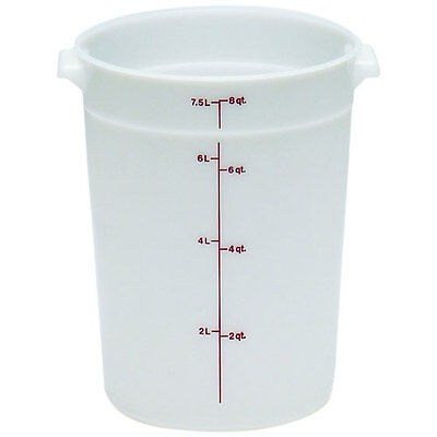 Cambro Plastic Storage Round Food Container White 8 qt.   1/Pack