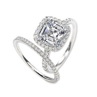 2.21 Ct. Asscher Cut Halo Round Diamond 14K Gold Engagement Ring Set GIA F,VS2
