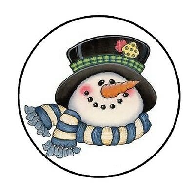 48 Christmas Snowman Head!!!  ENVELOPE SEALS LABELS STICKERS 1.2