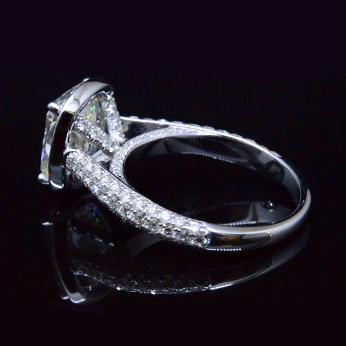 2.20 Ct Cushion Cut Diamond Halo Engagement Ring Micro Pave H,VS2 GIA 14K WG 1