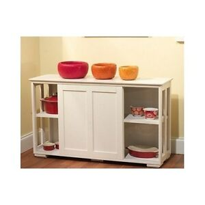 Antique Kitchen Cabinet Stackable Wood Sliding Doors White Storage