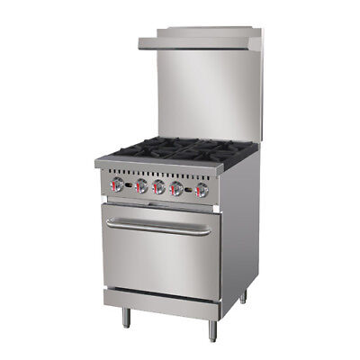 Central Restaurant Cr4-p 24 4 Burner Lp Gas Range With Casters And Oven Rack