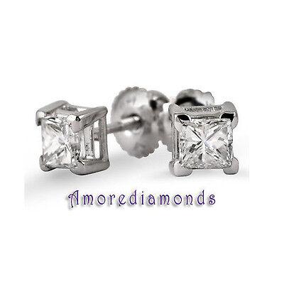 1.5 ct GIA G VS2 natural princess cut diamond stud earrings 14k white gold vtips