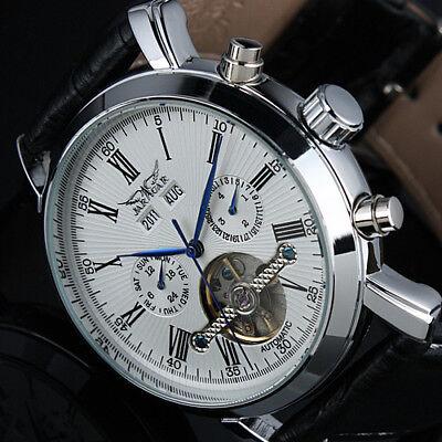 Herrenuhr Armbanduhr Automatikuhr Watch Mechanisch Kalender Blau Anzeiger