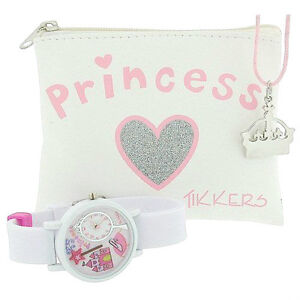 Tikkers Girls White&Pink Princess 3D Watch, Tiara Necklace&Purse Party Gift Set