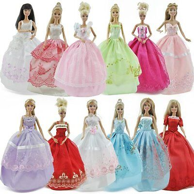 5pcs/Lot Barbie Doll Fashion Princess Dresses Outfits Party Wedding Clothes Gown