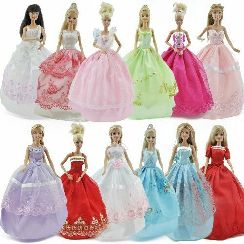 5pcs Fashion Princess Party Dresses Wedding Clothes Outfits Gown For Doll
