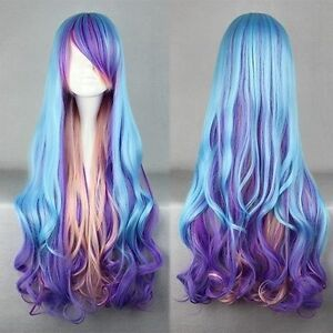 Fashion-Long-Charm-Lolita-Curly-Wavy-Color-Mixed-Anime-Cosplay-purple-wig