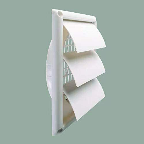 "Outdoor Dryer Vent Cover  Louvered Vent Hood Work with 6"" Vent Pipe"