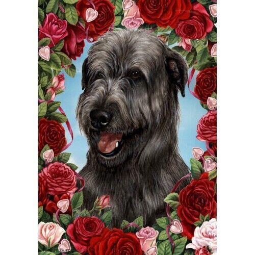 Roses Garden Flag - Black Irish Wolfhound 191641