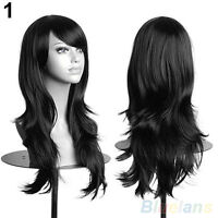 Womens Lady Long Hair Wig (Curly ,Wavy, black color)