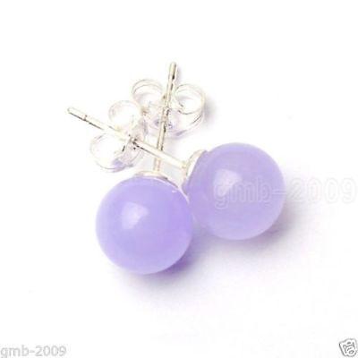 Pretty New Silver 10mm Round Light Purple Lavender Jade Ball Stud Post Earrings Jade Purple Earrings