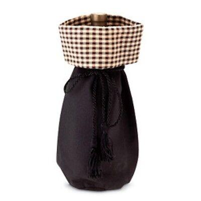 Longaberger Gift Bag Black / Khaki Check Quality Wine Bottle Beverage Tote New
