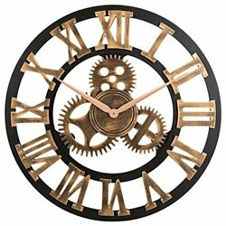 23 inch Noiseless Silent Gear Wall Clock - Large 3D Retro Rustic Country Decora