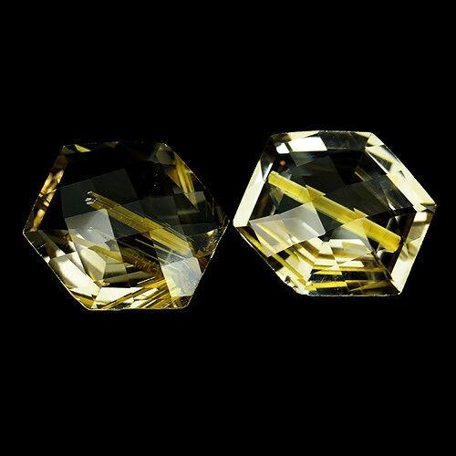 7.63Cts Rare Colour Natural Golden Rutilated Quartz Pair REF VIDEO