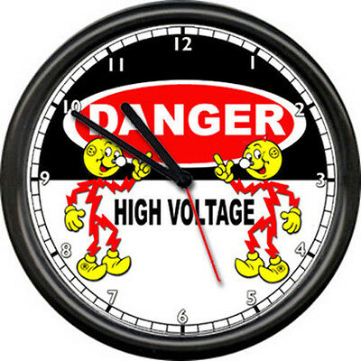 Reddy Kilowatt Electrician Utility Danger High Voltage Wire Sign Wall Clock