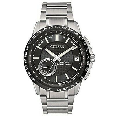 Citizen Men's Satellite Wave Stainless Steel Black Dial Analog Watch CC3005-85E Black Analogue Dial Watch