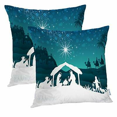 Christmas Dad Decorative Pillow Covers, 22 x 22 Inch Nativity Scene 01 Double S