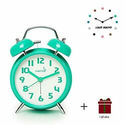 FLOITTUY {Loud Alarm for Deep Sleepers} 4'' Twin Bell Alarm Clock with Backlight