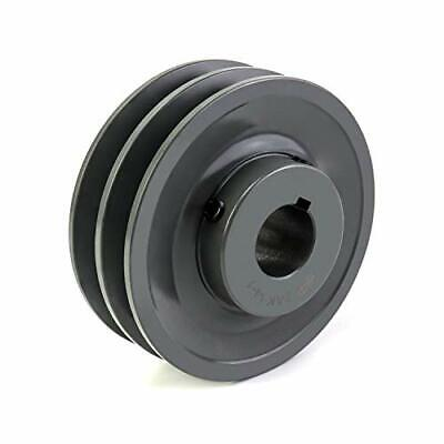 Qwork Double Groove Pulleysheave 4.25od 1bore Ak Fixed Bore Pulley For A 3...
