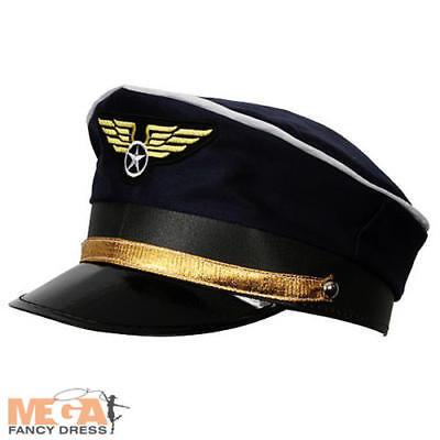 Airline Pilot Hat Fancy Dress Mens Aviation Uniform - Pilot Cap Kostüm