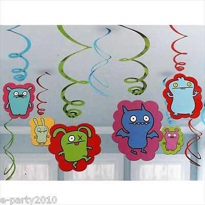 UGLYDOLL HANGING SWIRL DECORATIONS (12) ~ Birthday Party Supplies Room Ceiling](Party Ceiling Decorations)