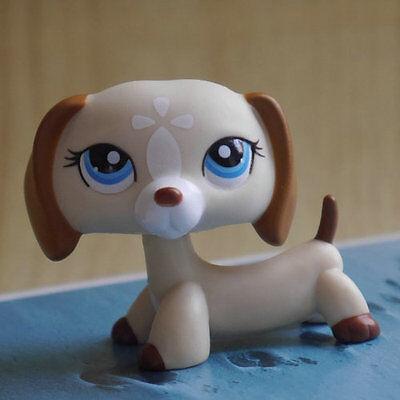 "LPS #1491 COLLECTION Action Figure LITTLEST PET SHOP cream white Dog TOY 2"""