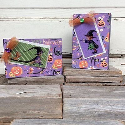 AGD Halloween Decor - Cute Witch and Kitty Cat Shadow Box 2pc Set
