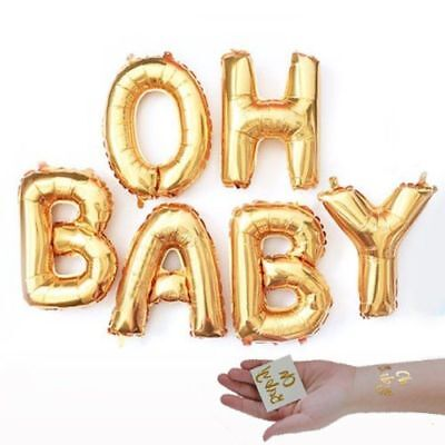 Gold OH BABY! Girl Boy Baby Shower Mylar Balloons Two Oh Baby Tattoos