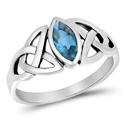 Blue Topaz  Marquise Setting Celtic Knot Ring - Rhodium Sterling Silver