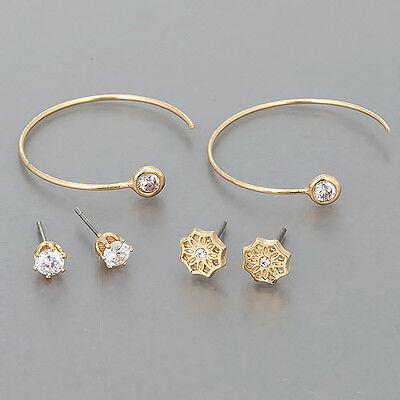 Three Gold Stud Cubic Zirconia Stud Open Hoop Design Unique Earrings Gold Cubic Zirconia Trio