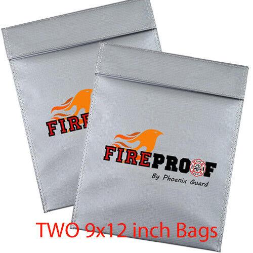 LOT OF TWO 9x12 Fire proof pouch Document Money safe bag Fir