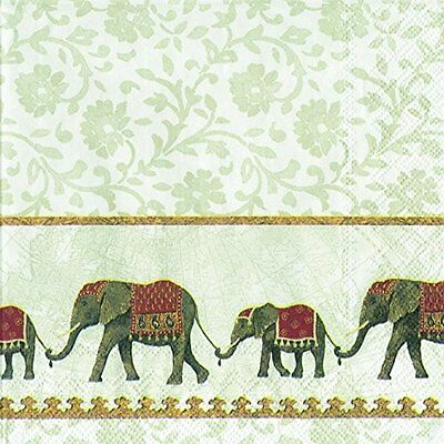 Natume white Indian Elephants paper 33cm square  lunch napkins 20 pack