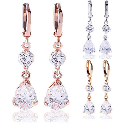 Women's Water Drop Shape Shining Cubic Zircon Dangling Earrings Eardrops