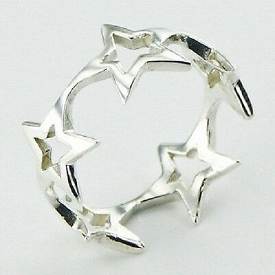 Silver ring band open stars design 925 sterling size 6us 7us 8us 9us  9mm wide