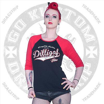 Dragstrip Clothing Girl Baseball Top 3/4 sleeve skate tattoo Dilligaf Lucky 13