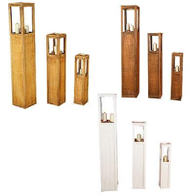 Windlicht Laterne Kerzenhalter Holz Holzlaterne Braun Weiß 3tlg. Set Ständer XXL