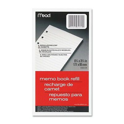 Mead 6-ring Memo Book Refill Paper College Rule 3.75x6.75 80sheets Mea46534