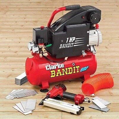 Bandit IV Air Compressor with Air Gun. Bandit from Clarke. 8L Compressor. Red.