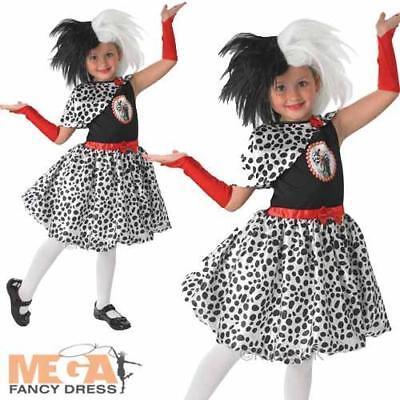 Cruella De Vil Girls Fancy Dress Book Character Halloween Childs Kids Costume ](Cruella De Vil Costume Kids)