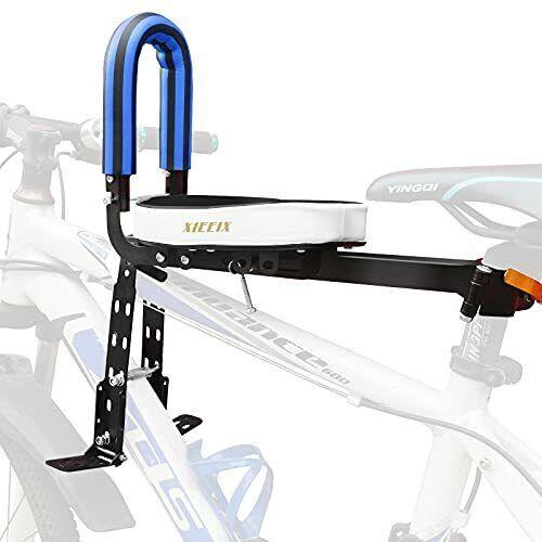 Child Bike Seat, Portable Retractable Foldable Front Mount Kids Seat, blue