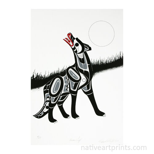 Timber Wolf Limited Edition Northwest Native Signed Serigraph