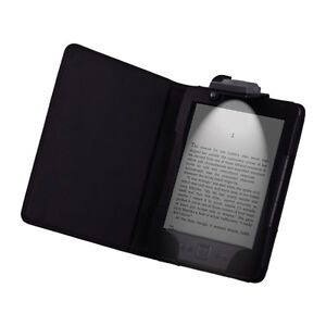 Amazon Kindle 4 4TH 4 Gen LED Light Lighted Leather Case Cover Black