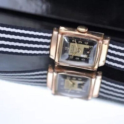 1940 ROLEX Vintage Pink Gold Watch Deco Rectangular RARE Hood Lugs Tuxedo 2Dial