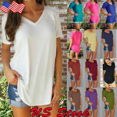 - Women's V-Neck Loose Short Sleeve Tunic Top Lady A-Line Blouse Plus Size T-Shirt