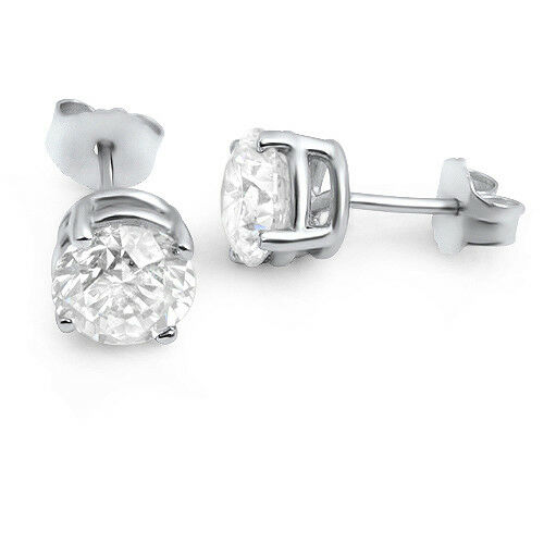 1 CT VS2/D Engagement Diamond Earrings Stud Round 14K White Gold Enhanced