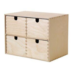 Ikea moppe mini in legno cassettiera of 4 cassetti scatola portaoggetti gioiello ebay - Mini cassettiera ikea ...